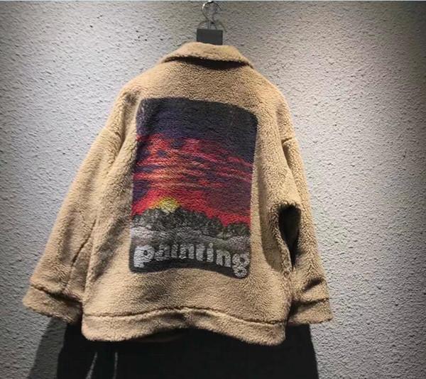 Pintura do por do sol Impressão Mens morno mulheres Tops Cordeiro casacos de pele dos homens Mulheres Moda Marca Japão DOUBLET Coats GD Inverno Streetwear Casacos