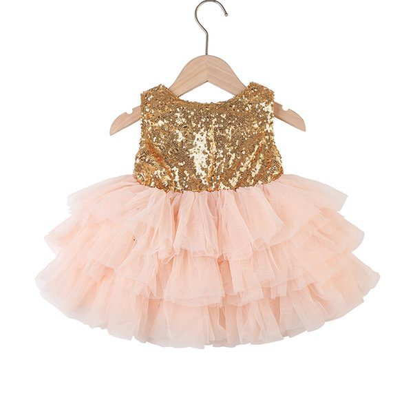 Compre Vestido De Niña De Lentejuelas 2018 Lentejuelas Doradas Con Tul De Coral Vestido De Fiesta Para Niña Pequeña Vestido De Espalda Abierta A