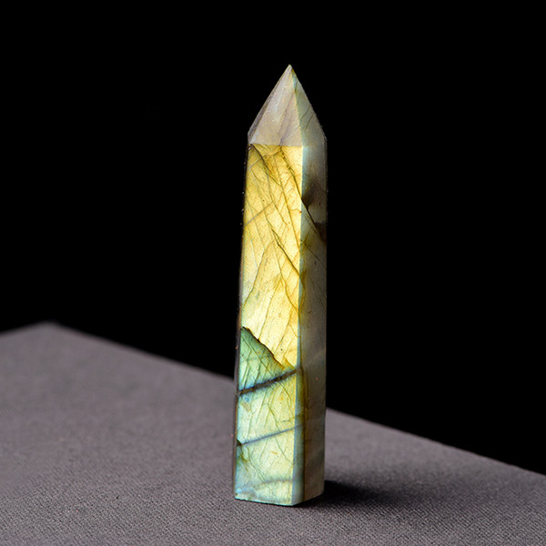 Natural Labradorite Quartz Crystal Moonstone Wand Point Healing Stone