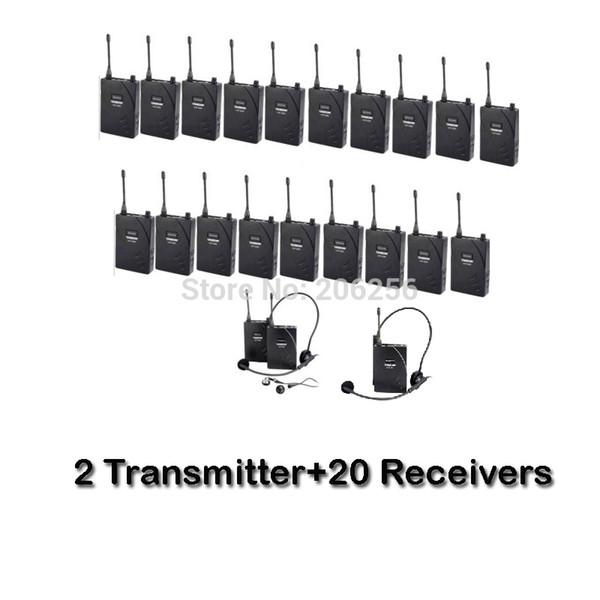 Takstar 2 Transmitter + 20 Empfänger UHF-938 / UHF 938 UHF Frequenz Wireless Tour Guide System 50m Reichweite für Tour Guide