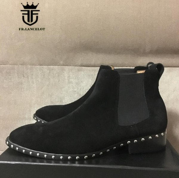 FR.LANCELOT 2018 pointed toe men leather boots brand desigh men fashion boots slip on mujer bota spike stud chelsea booties