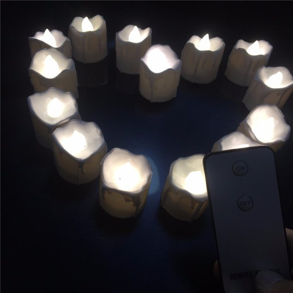 (12 Pieces )Small Flickering Decorative Candles With Remote Control ,Yellow Red Bright Fake Tea Lights For Birthday ,Love
