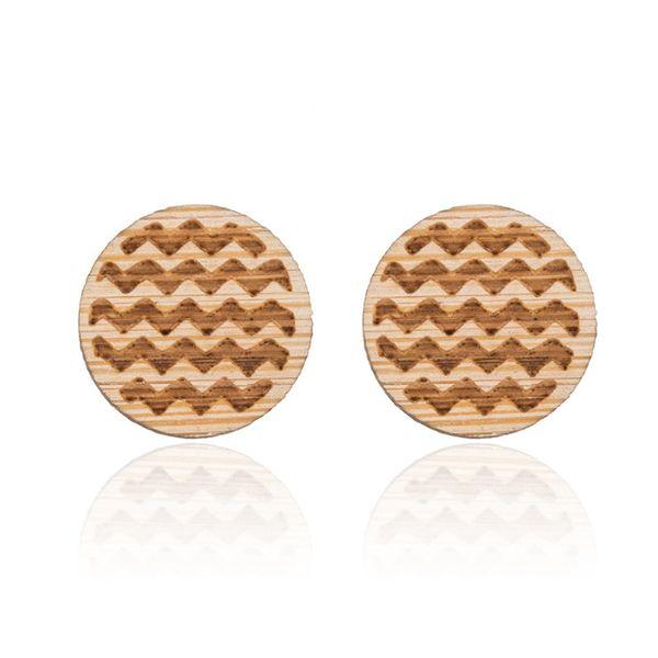 Allergy free wood stud earrings The sea waves stud earrings Fashion high quality creative wood stud earrings NY-054