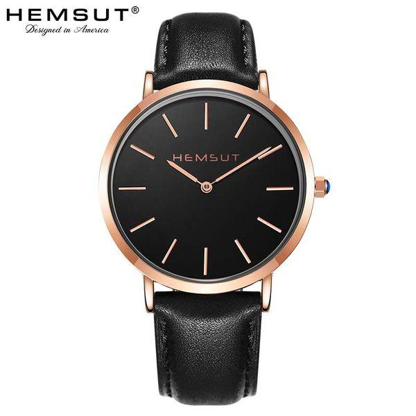 Men's Watch Hemsut Ultra-thin Men Watch Leather Straps Quartz 30m Waterproof Black relogio masculino 2018
