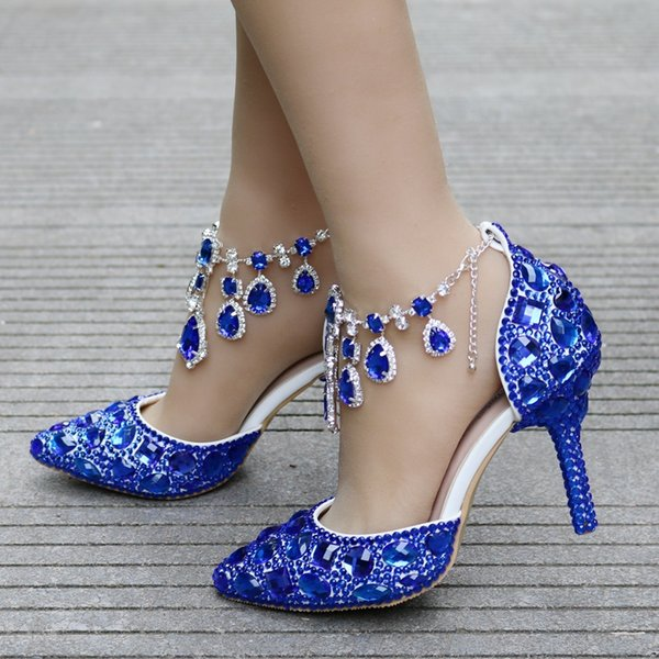 New Fashionl sexy pointed toe shoes for women blue crystal high heel wedding shoes thick heels Beautiful rhinestone Plus Size Shoes