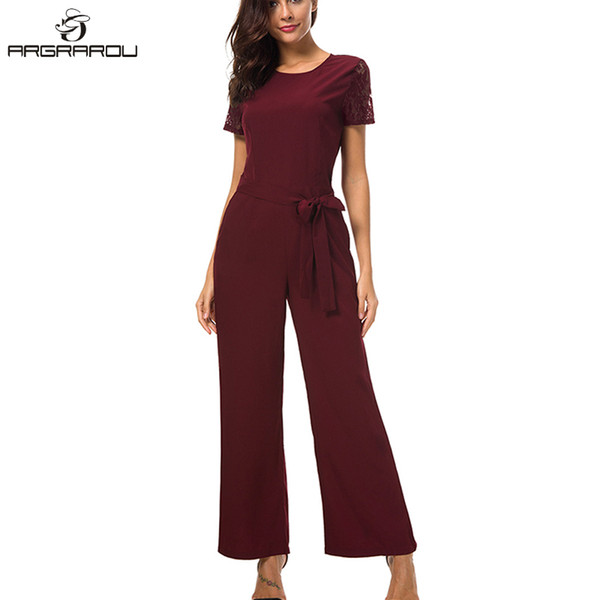 Hot Women Evening Party Jumpsuits Short Sleeve Lace Patchwork Hollow Out Elegant Wide Leg Jumpsuit Office Long Pants Overalls