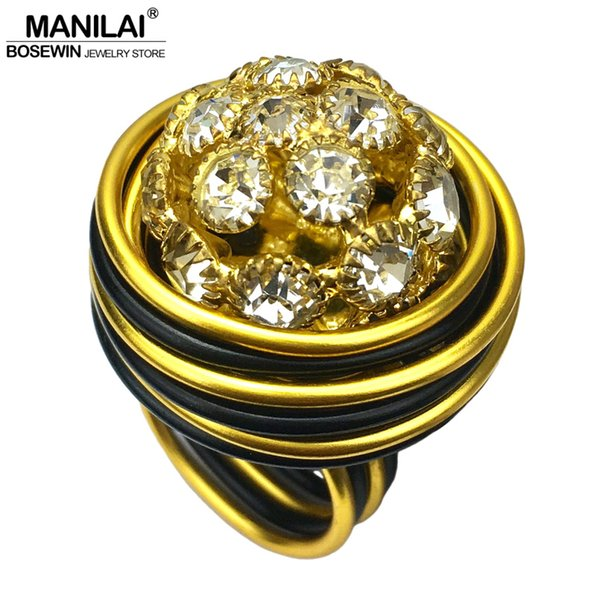 MANILAI Vintage Handmade Hollow Rhinestones Rings For Women Fashion Jewelry Golden Black Wire Wind Beads Big Finger Ring Retro