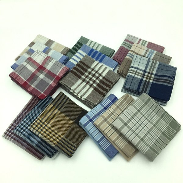 10pcs /Lot New Striped Plaid Mens Party Handkerchief 40 *40cm Cotton Fabric Hanky Wendding Handkerchief Xmas Male Pocket Square