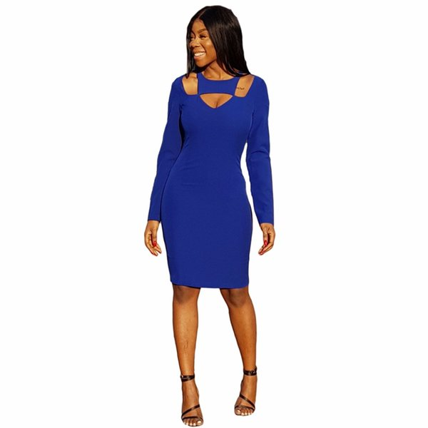 Blue Pencil Arbeit Kleider Hohe Taille Volle Hülse Vintage Sexy Verband Bodycon Kleid Frauen Damen Casual Midi Kleider Vestidos
