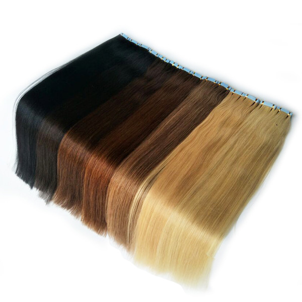 High Quality 100% Human Remy Tape In Hair Extensions 100g 40 Pcs Colorful Tape On Hair Extension Skin Weft Glue On Hair
