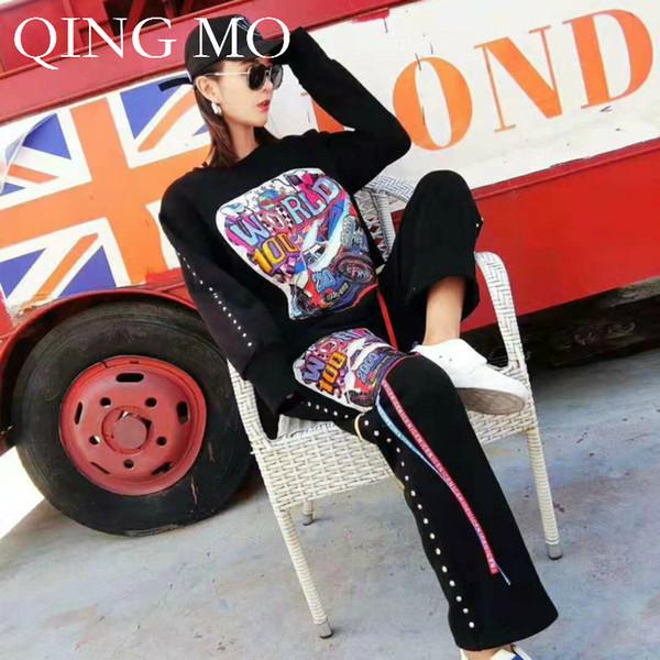 QING MO Femmes Rivet Impression Gland Casual Costume 2018 Automne Femmes Pull Sport Suit De Mode En Vrac DQ0219A