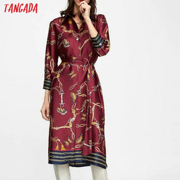 wholesale autumn 2018 vintage dress chain print women chiffon dress elegant korea fashion female clothing XZH51