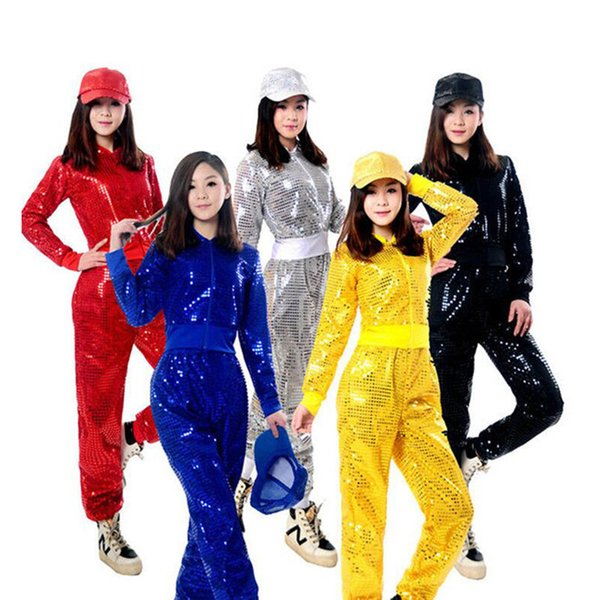 Adult Jazz Hiphop Modern Dance Wear Paillette Stage Performance Clothing Woman Sequins Cheerleading Dance Costuems New