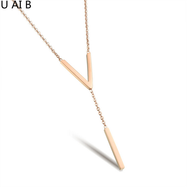 Rose gold color Titanium steel fashion v-shaped chest to fall female models clavicle pendant chain jewelry for women