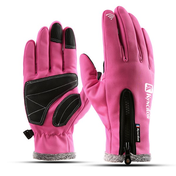 High Quality Women Winter Outdoor Sports Gloves Fashionable Lady Cycling Skiing Warm Windproof Finger Gloves Touch Screen Anti-slip Gloves