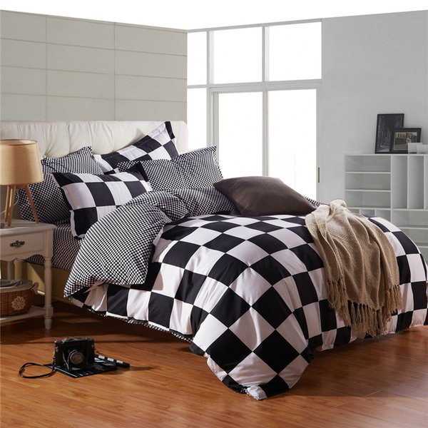Black White Bedding Set Square Lattice Duvet Quilt Cover Bed Sheet Pillowcase Single Double Queen Size Polyester 4PCS Bedspreads