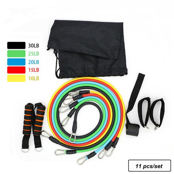 GSTL бренд 11 шт./Комплект диапазоны сопротивления тренировки Упражнение трубы обучение тросовые резины