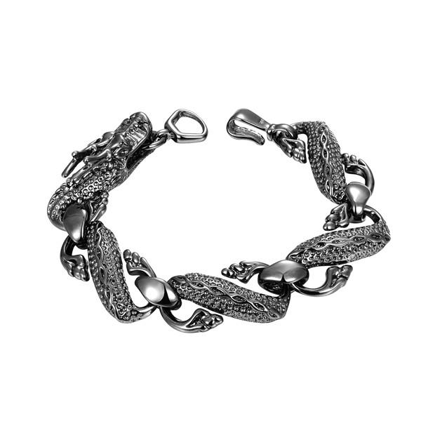 Black Dragon Bracelet - Men's sterling silver plated bracelet hot sale fashion women's 925 silver bracelet SPB007