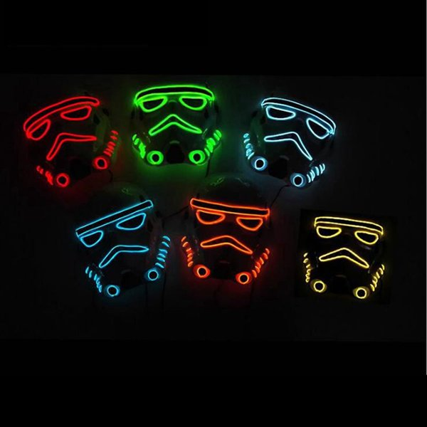 Hanzi_masks 10 color fashion Movie Theme Halloween Mask EL Wire LED Neon light Glow Party Mask Powered by 2AA Battery