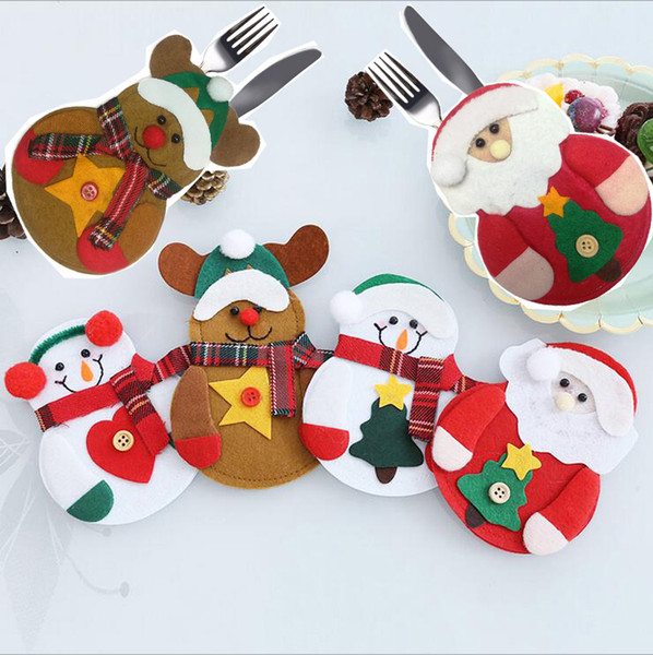 Muñeco de nieve Santa alces cuchillo y tenedor bolsas Vajilla Set Tejido No Tejido Práctico Reno Decoraciones de Navidad 10 * 13 cm SD18
