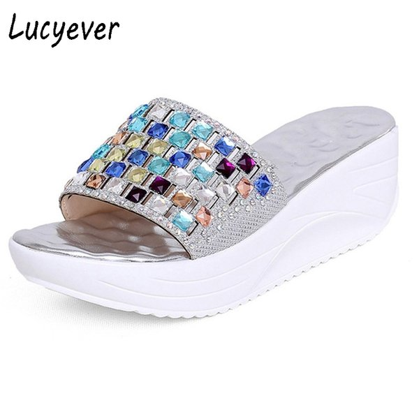 Lucyever 2018 New Summer Colorful Rhinestone Slipper Wedge Platform Shoes  Woman Fashion Crystal Beach Flip Flops Leisure Sandals bc4663982cae