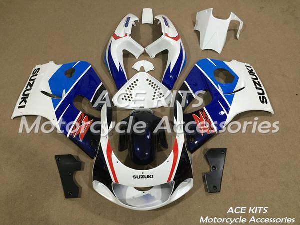 Туз мотоцикл обтекатели для SUZUKI GSX-R600 GSX-R750 1996 1997 1998 1999 сжатия или впрыска кузова Синий Белый No. 506
