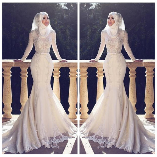 2018 Modest Slim Fishtail Arabic Style Mermaid Wedding Dresses Long Sleeves Lace Applique O Neck Hijab Mermaid Long Bridal Gowns Muslim
