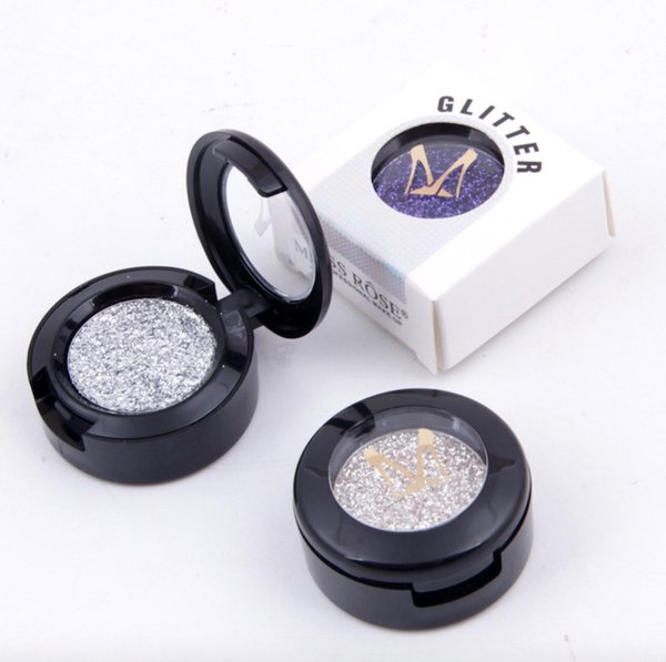 Miss Rose Brand Glitters Single Eyeshadow Diamond Rainbow Make Up Cosmetic Pressed Glitter Eye Shadow Palette 24 Colors 360 pcs DHL