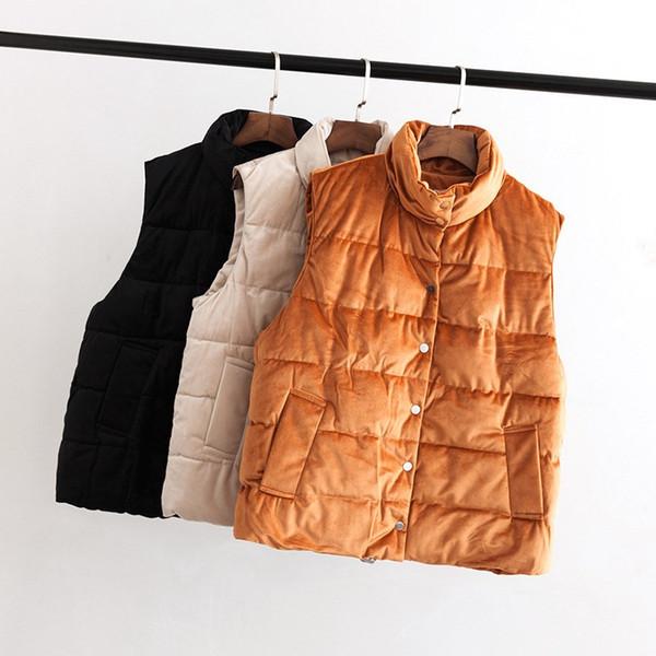 Autumn Winter Women Mandarin Collar Solid Vest Plus Size Xxl-5Xl Sleeveless Outerwear Casual Pockets Warm Thick Waistcoats