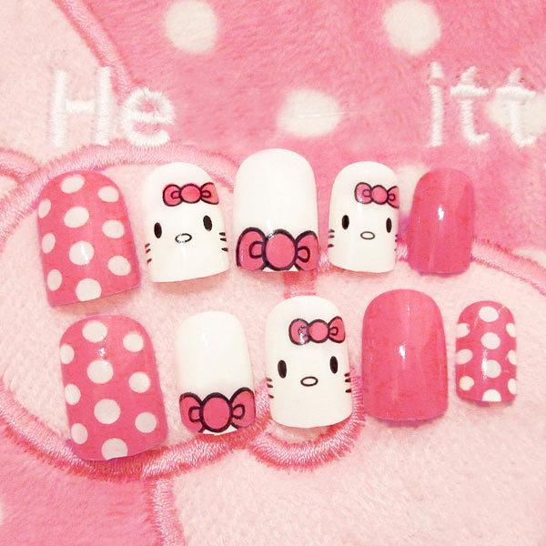 24 шт. Популярные Симпатичные Розовые Поддельные Ногти Hello Kitty Короткие Конфеты Пятна Газа Советы с Дизайнами Акриловые Ложные Nail Art Инструмент Y18101101