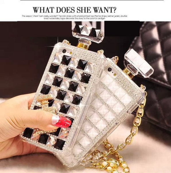 Nuova cassa di lusso del telefono delle bottiglie di profumo del cristallo di rocca per il caso di iPhone 5 6 7 8 dei diamanti Bling TPU con la catena