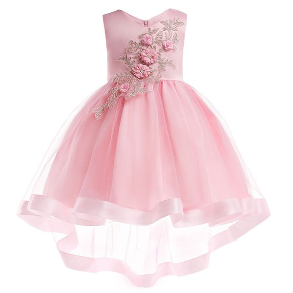 Princess Lovely Jewel Neck Lace Beading Flower Girl Dresses Pink Tulle Lace Appliques Button Covered Kids Formal Wear Cheap 2018