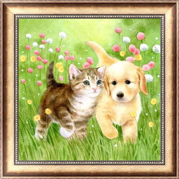5D Diy diamond painting cross show rhinestone painting diamond embroidery home decoration gift mosaic, cat and dog flowers