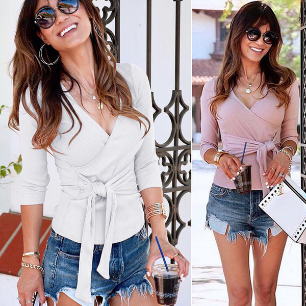 Women Fashion Casual T-shirt Sexy V Neck Party Ladies Long Sleeve Slim Bandage Jumper Tops Clothes T-shirts Autumn