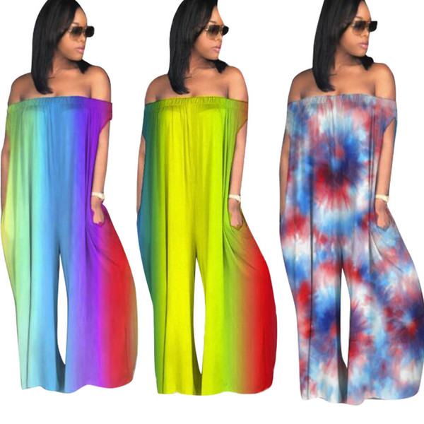 909c471d4839 Plus Size Rompers Womens Jumpsuit Casual Loose Pants Overalls Club Ladies  Backless Off Shoulder Tie Dye
