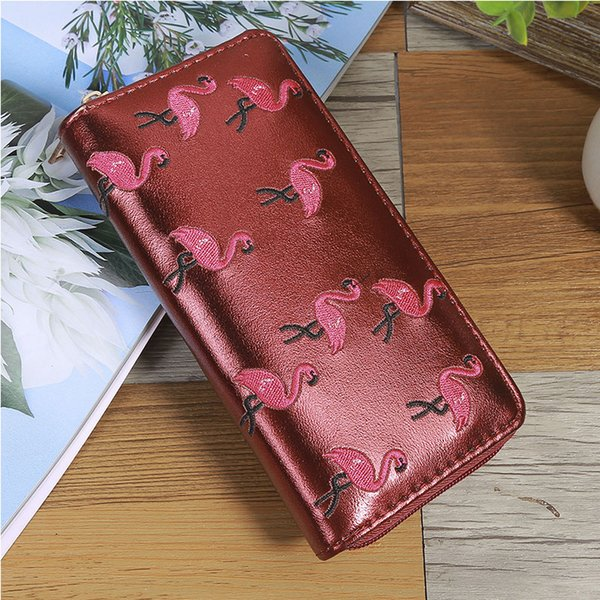Flamingo Embroidered PU leather Zip Around Wallet for Girls Big Capacity Money Case Embroidery Long Woman wallet