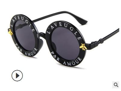 2018 Retro Round Sunglasses English Letters Little Bee Sun Glasses Men Women Brand Glasses Designer Fashion Male Female 15981