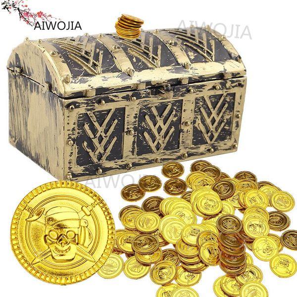 50Pcs Plastic Gold Silver Treasure Coins Captain Pirate Party Favors Pretend Treasure Chest Kids Party Halloween Supplies 6Z