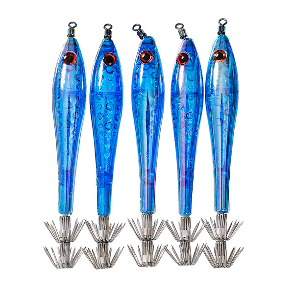 Free Shipping 5pcs Package Squid Jigs Hook Isca Artificial Fishing Lure Octopus Luminous Squid Hook Shrimp