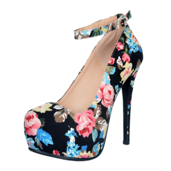 Zandina Womens New Design Handmade High Heel Pumps Wedding Flower Leather Print Shoes Buckle Ankle Strap Round-toe Party Fashion Shoes A049