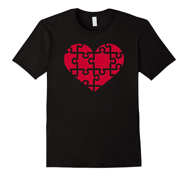T Shirt Printing Online Cool Tees Short Printing O-Neck Red Heart Puzzle Shirt For Men
