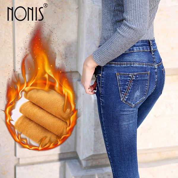 Mujeres Nonis pantalones de terciopelo grueso mujer pantalones elásticos delgados pantalones lápiz damas invierno cálido denim sexy mujer mediados de cintura pantalones vaqueros