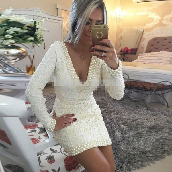 Lace Sexy V neck Women Dresses Short Robe De Cocktail Party Gowns Long Sleeves 2018 vestidos Mini Formal Prom Gowns