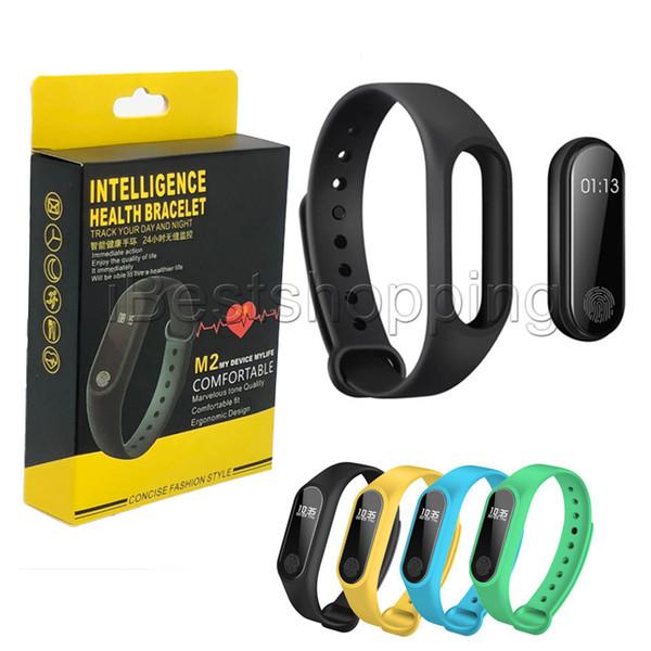 M2 Relógio Inteligente Rastreador de Fitness Monitor de Atividade À Prova D 'Água Rastreador Pulseira Inteligente Pedômetro Chamada lembrar Saúde Pulseira com caixa