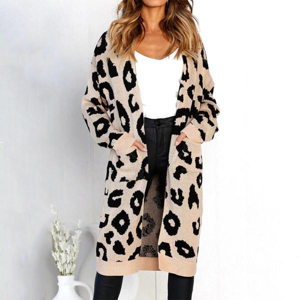 Großhandel 2018 Winter Leopard Print Frauen Lose Strickjacke Oberbekleidung Beiläufige Gestrickte Lange Mantel Pullover Strickjacke Weibliche Wolle