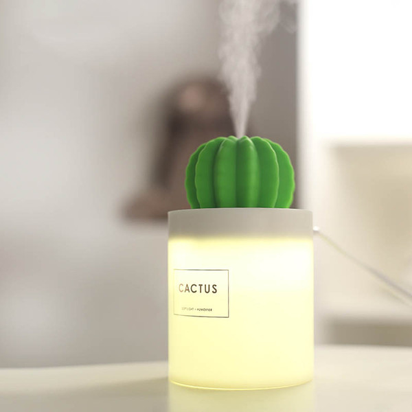 Mini Size Cactus USB Cool Mist Humidifier with Night Light for Bedroom Home Office Car 280ml 50ml/h with Timed auto Shutdown DEC425