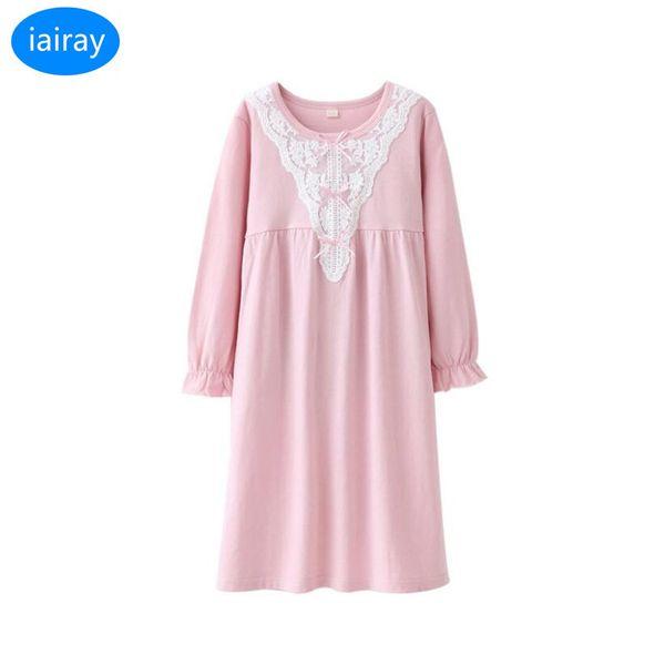 iairay girls sleepwear children nightgown kids pajamas for girls cotton sleep nightdress girl nightwear pink lace sleeping dress Y18102908