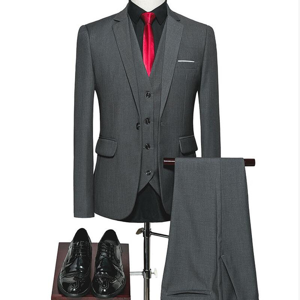 2018 setwell (Jacket+Pants+Vest) Classic Men Suit Slim Sky Blue Wedding Groom Wear Mens Suits Black Gentlemen Costume Mariage Homme XS-3XL