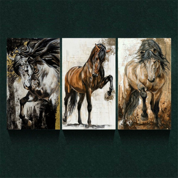 Brown Horse,3 Pieces Canvas Prints Wall Art Oil Painting Home Decor (Unframed/Framed)