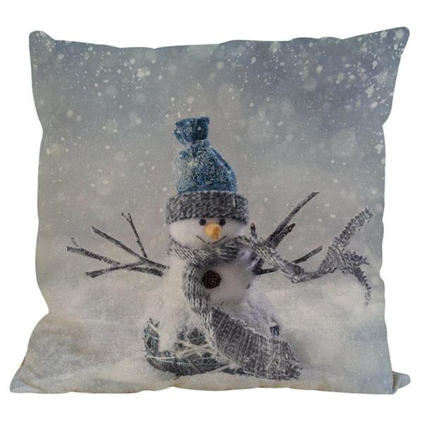 New Christmas Snowman Cotton Linen Pillowcase Bed Pillow Cover Home Brand New Comfortable High Quality 45cm*45cm 10JUL 31 Pillow Case